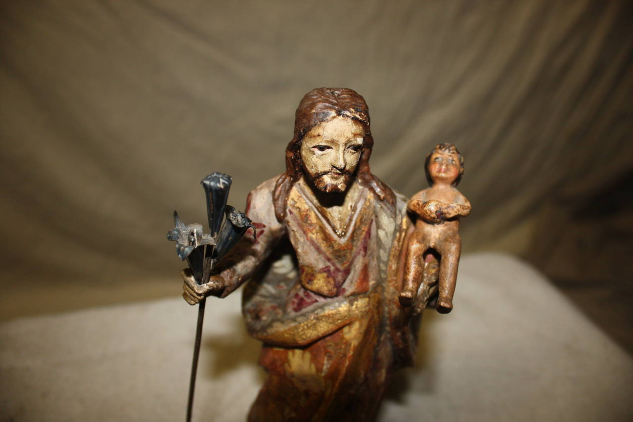 French 17th Century Religious Wood Sculpture For Sale
