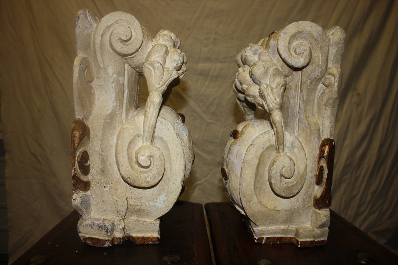 French Pair of 18th Century Carved Wall Consoles For Sale
