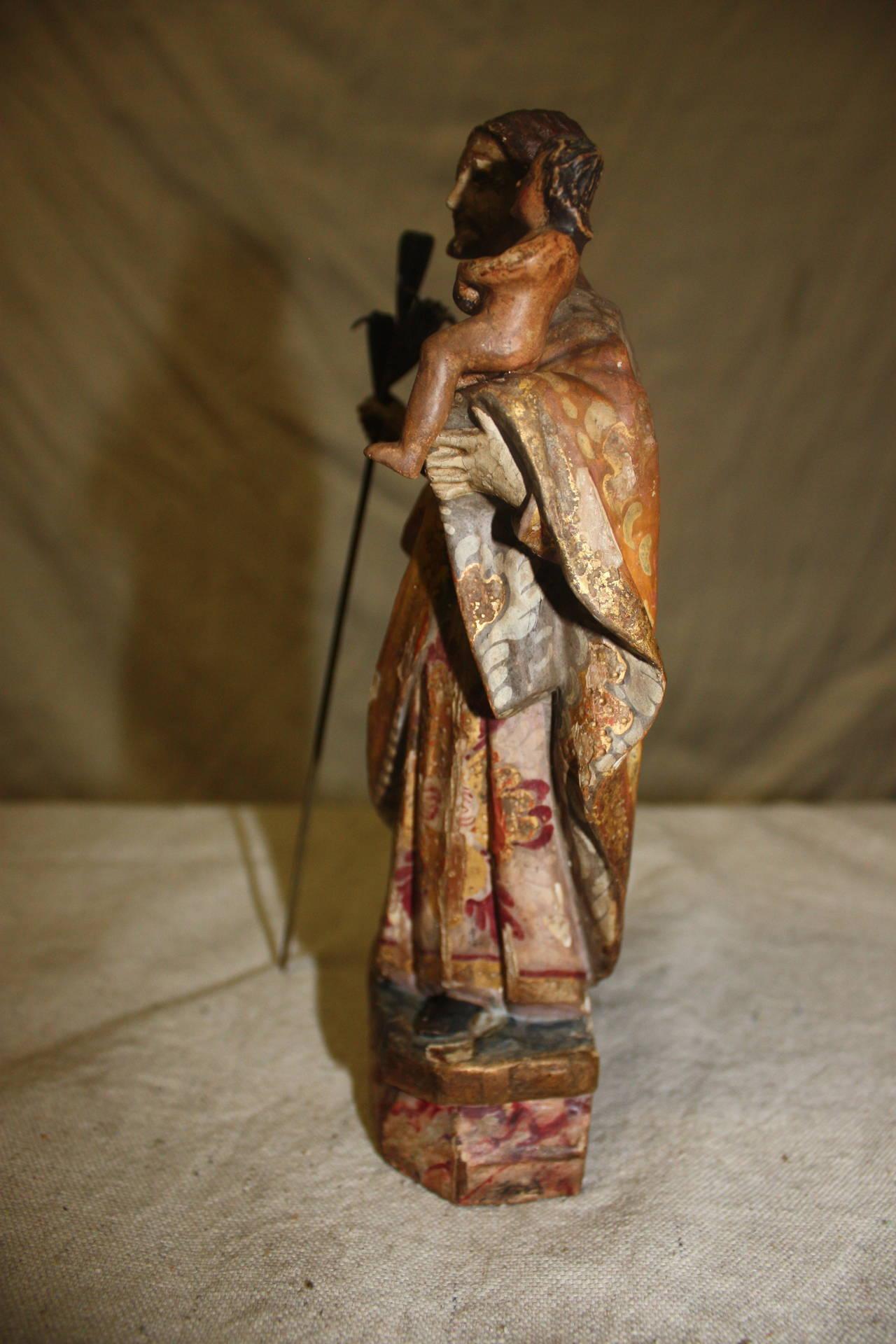 17th Century Religious Wood Sculpture In Good Condition For Sale In Atlanta, GA