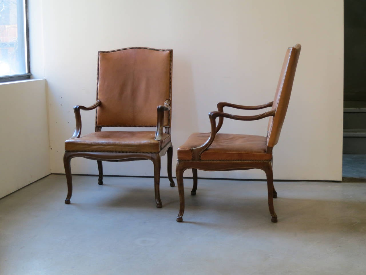 Scandinavian Modern Frits Henningsen Four Large 1930s Armchairs in Danish Rococo Style For Sale
