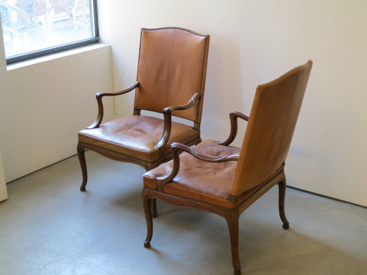Carved Frits Henningsen Four Large 1930s Armchairs in Danish Rococo Style For Sale