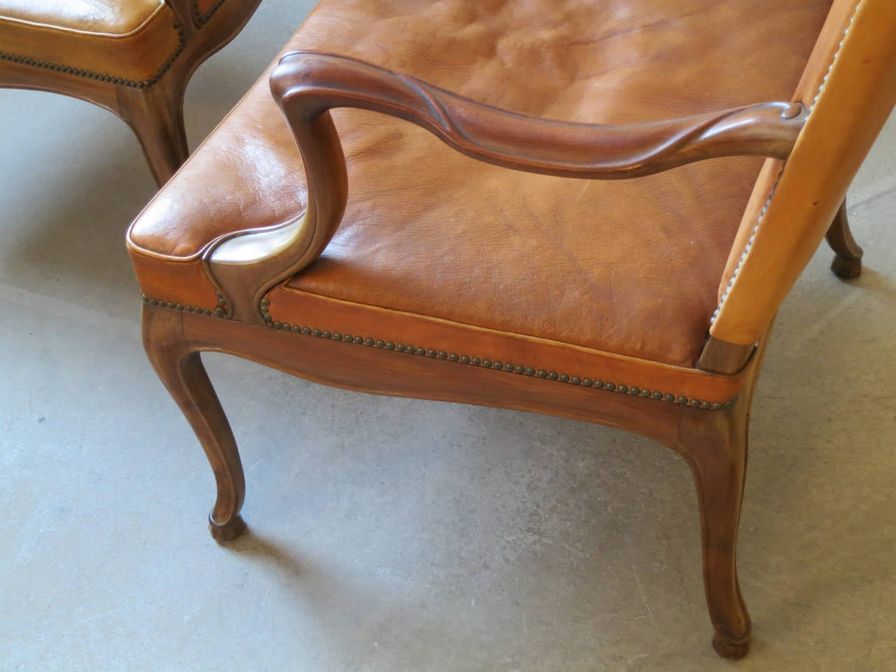 Leather Frits Henningsen Four Large 1930s Armchairs in Danish Rococo Style For Sale