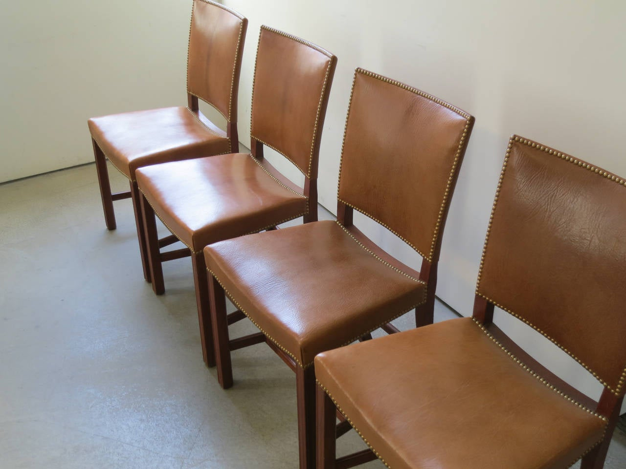 Early Set Of 10 Teak And Nigerian Goatskin Red Chairs By