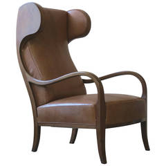 Unusual 1940s Wingback Chair by Frits Henningsen