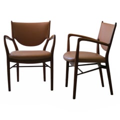 Pair of NV46 Chairs by Finn Juhl in Teak with Natural Leather Upholstery