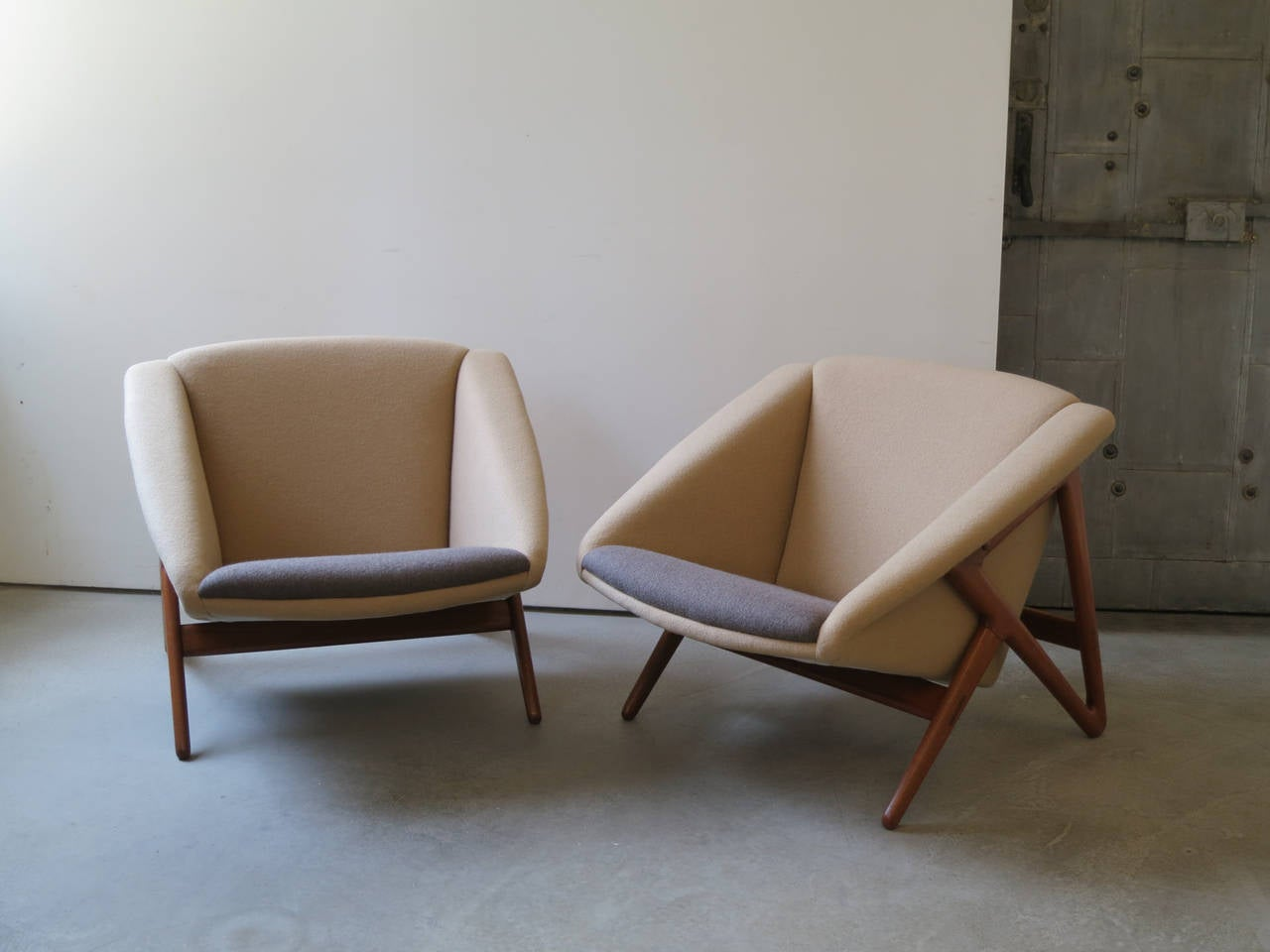 """Offered by Vance Trimble, Pair of """"Tipvogn"""" Chairs by H. Brockmann Petersen.  Designed by H. Brockmann Petersen in 1953.   Made by cabinetmaker Louis G. Thiersen & Søn, Copenhagen.   Teak legs, upholstered in Holland & Sherry camel and warm"""