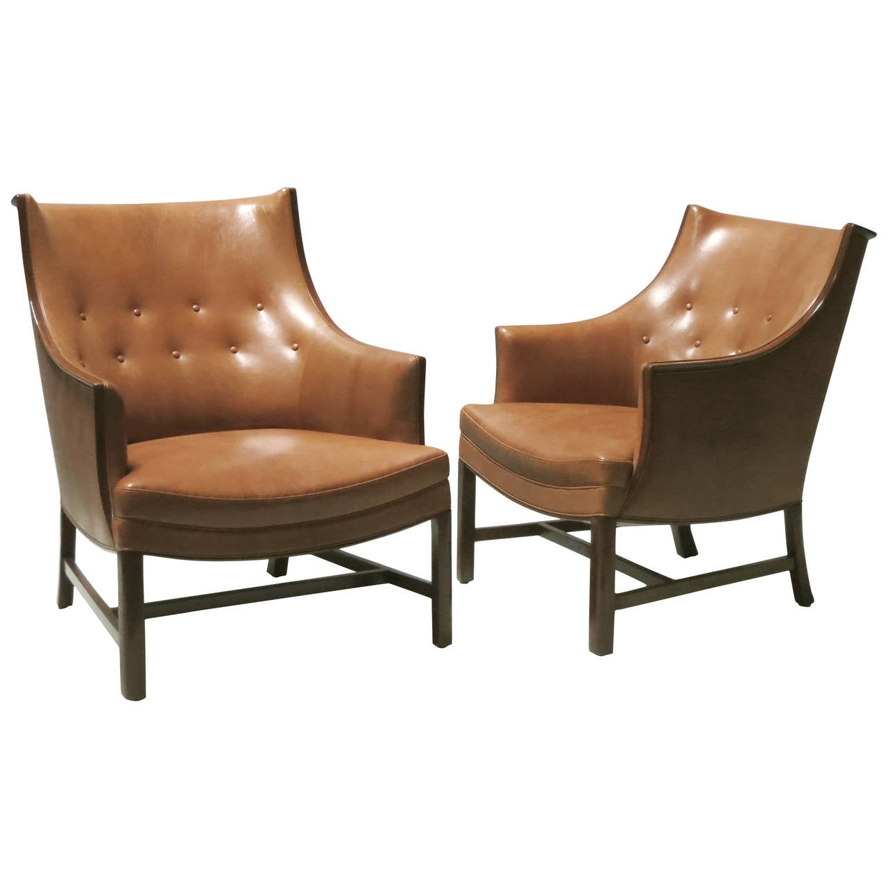 Pair of Refined 1930s Easy Chairs by Frits Henningsen For Sale