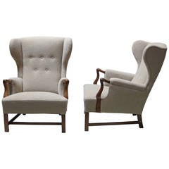 Pair of 1940s Wingback Chairs by Jacob Kjaer
