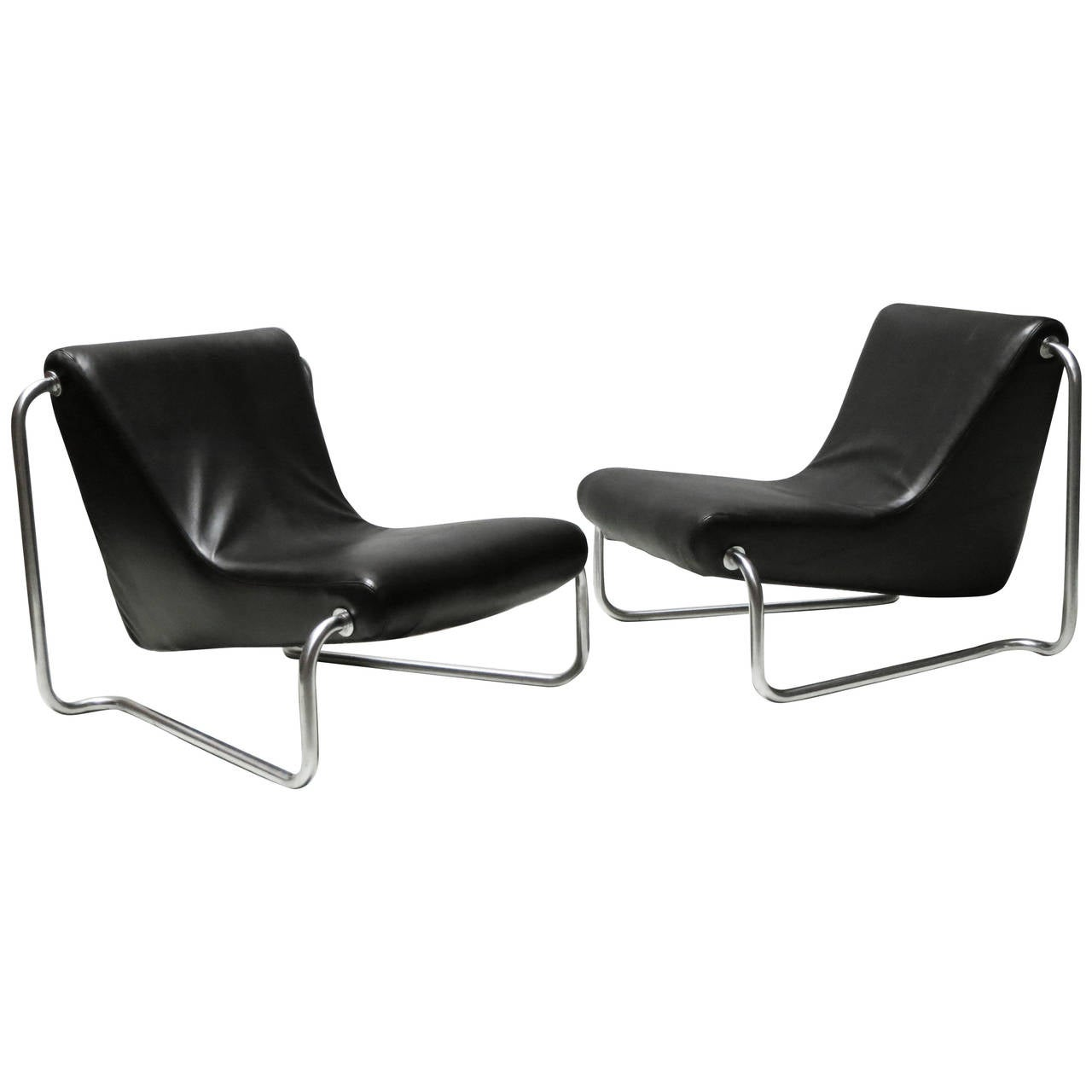 Pair of Leather and Steel 1970s Lounge Chairs by Luigi Colani for Fritz Hansen