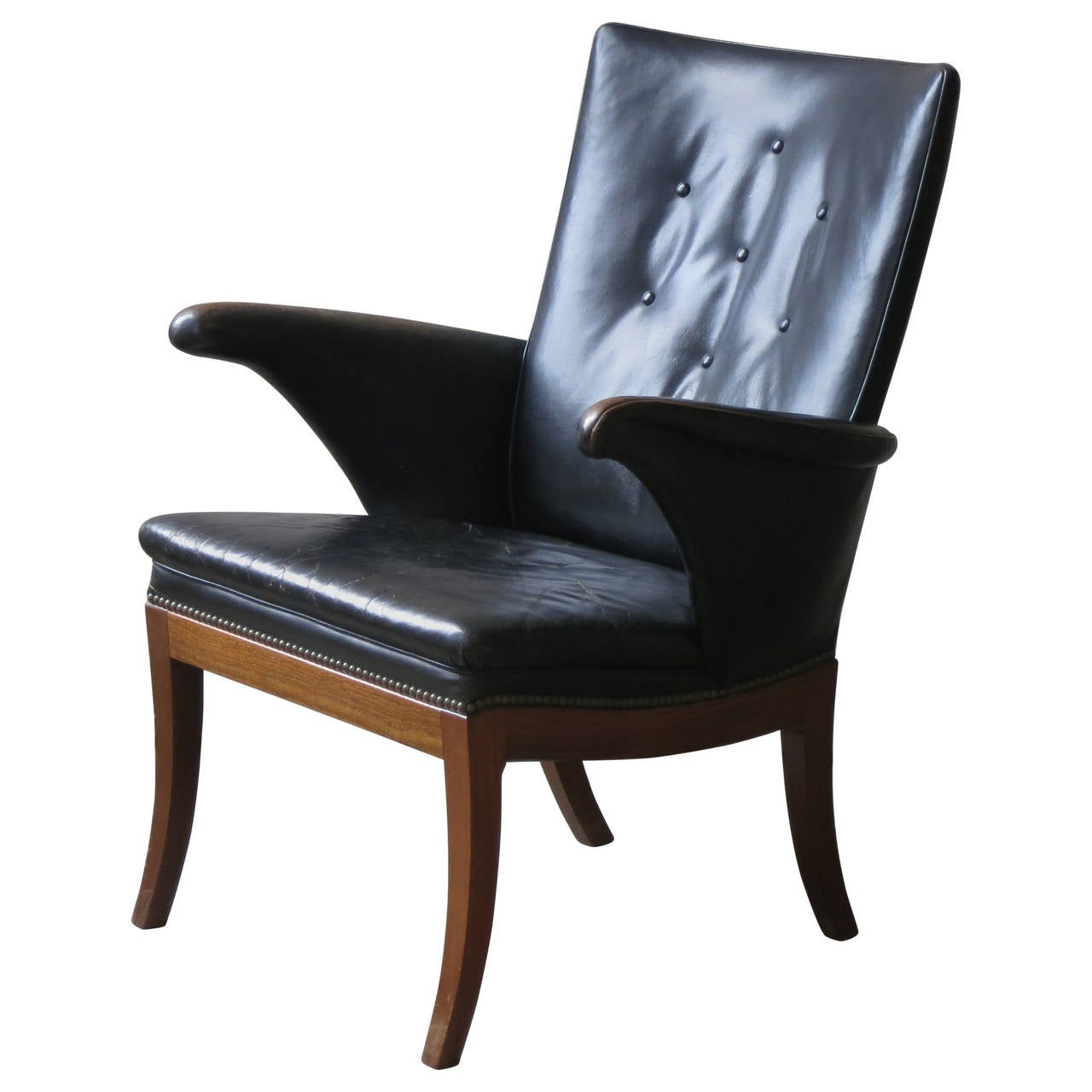 1930s Armchair in Original Black Leather by Frits Henningsen For Sale