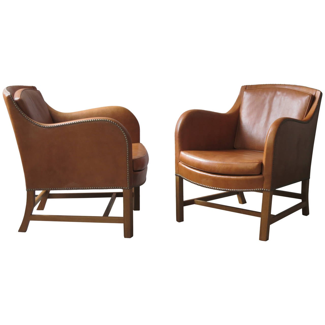 "Pair of ""Mix"" Chairs in Nigerian Goatskin with Brass Nailheads by Kaare Klint For Sale"