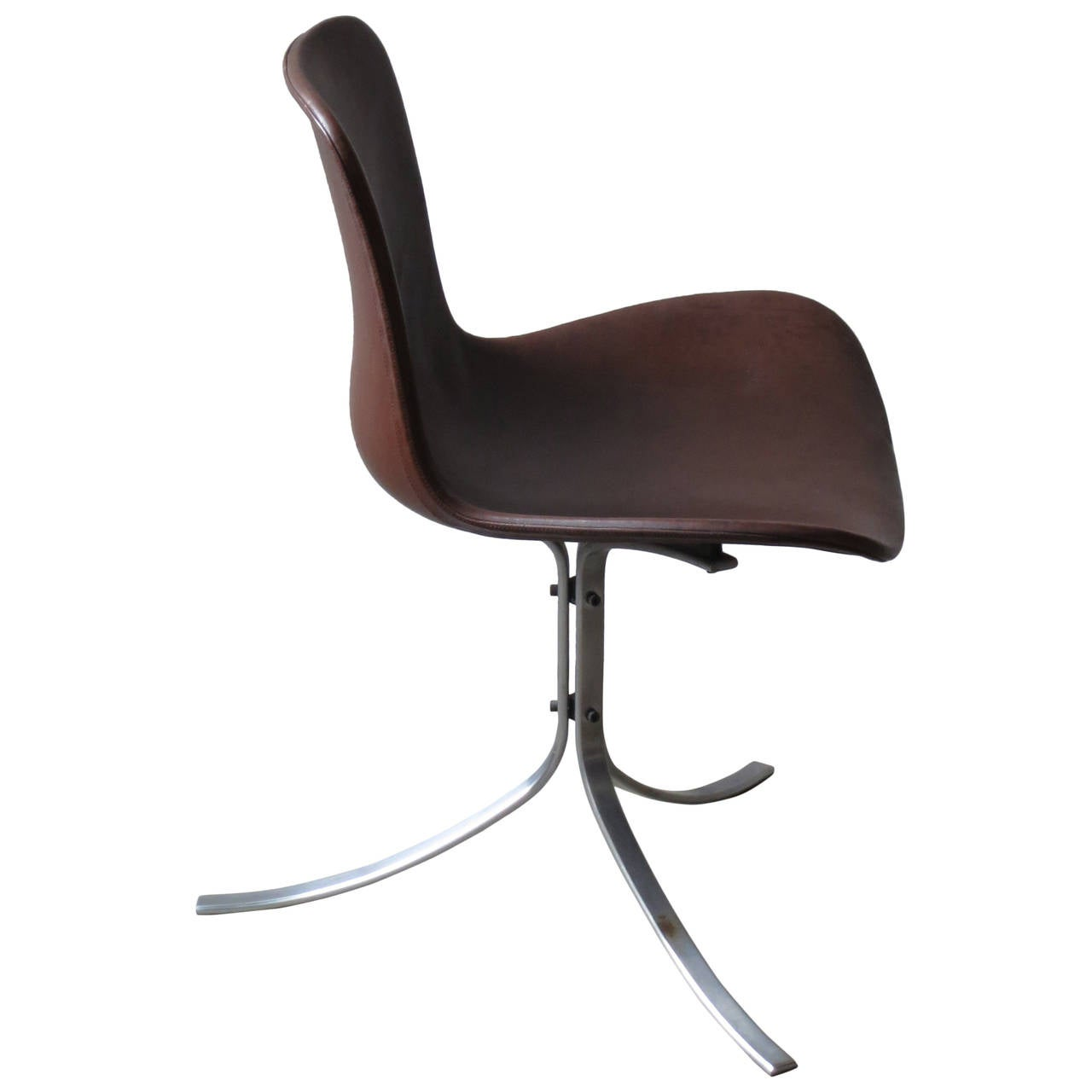 PK-9 Chair by Poul Kjærholm in patinated brown leather For Sale