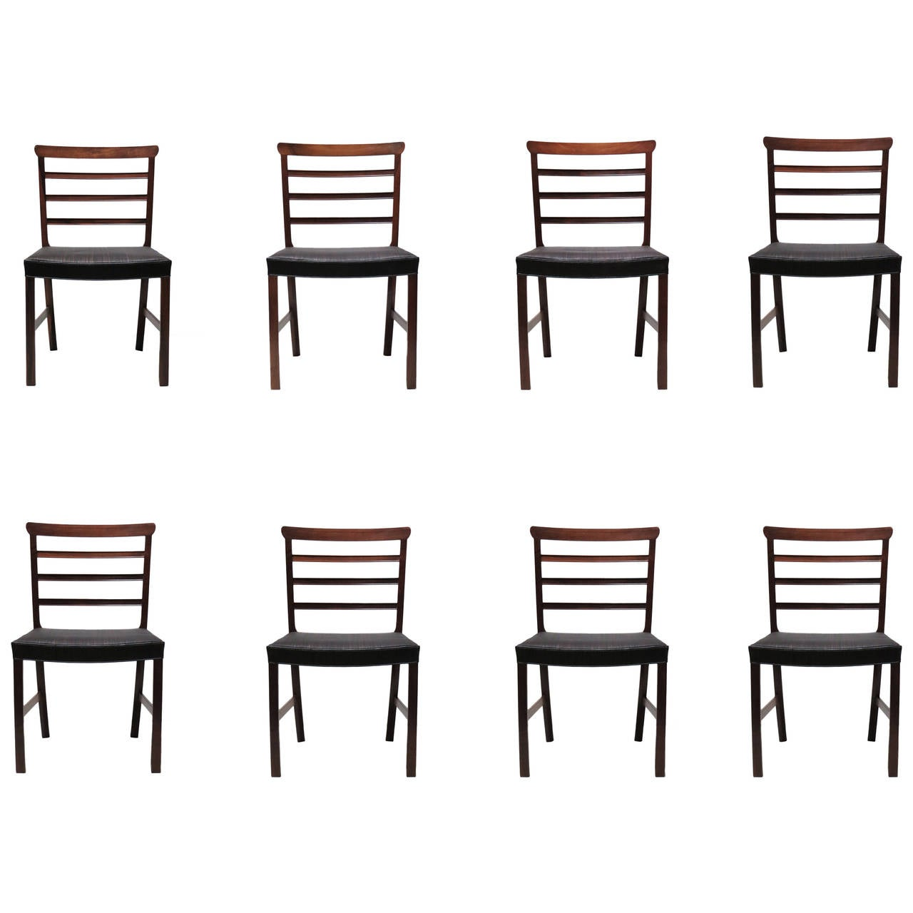 Set of Eight Brazilian Rosewood and Horsehair Dining Chairs by Ole Wanscher For Sale