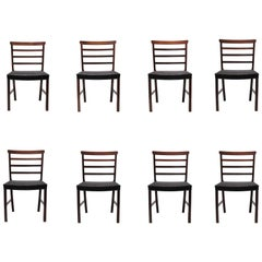 Set of Eight Brazilian Rosewood and Horsehair Dining Chairs by Ole Wanscher
