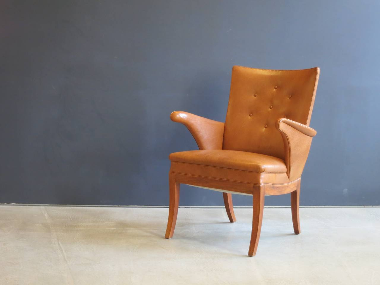Mid-20th Century Armchair in Nigerian Goatskin by Frits Henningsen, 1930s For Sale