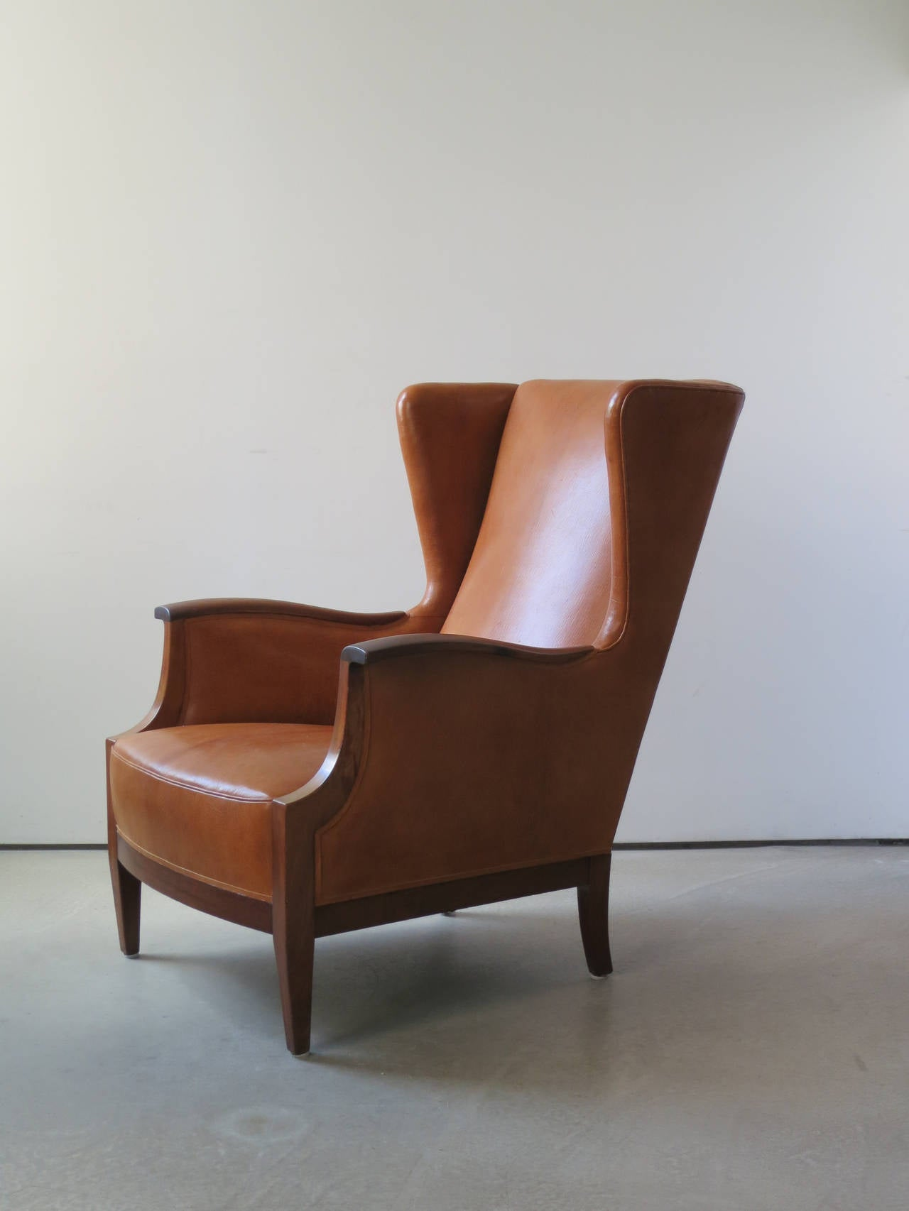 1930s Wingback Chair in Nigerian Leather and Cuban Mahogany by