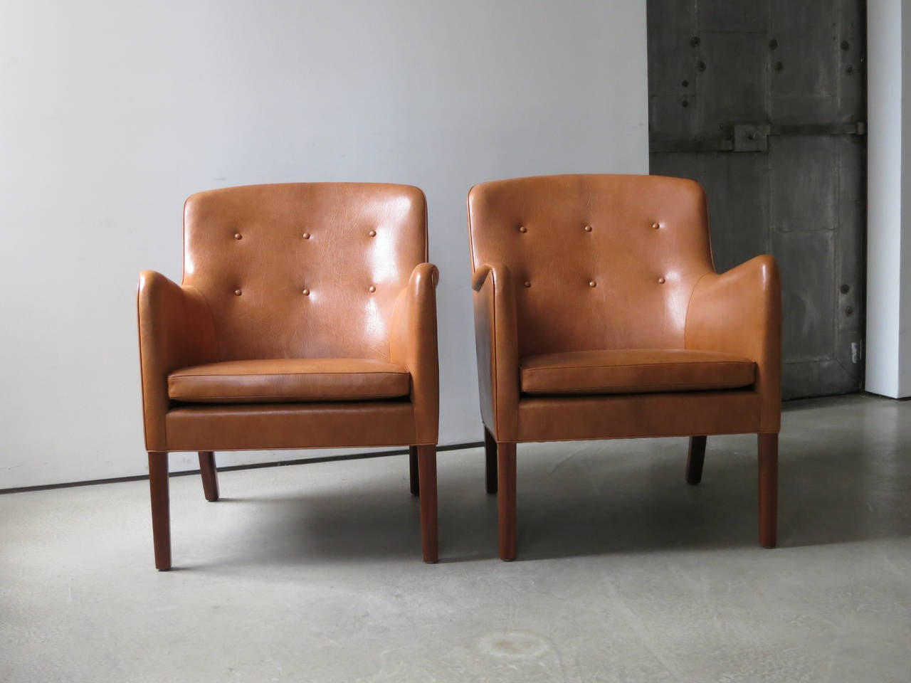 Pair of 1940s Lounge Chairs in Nigerian Leather by Ole Wanscher In Excellent Condition In New York, NY