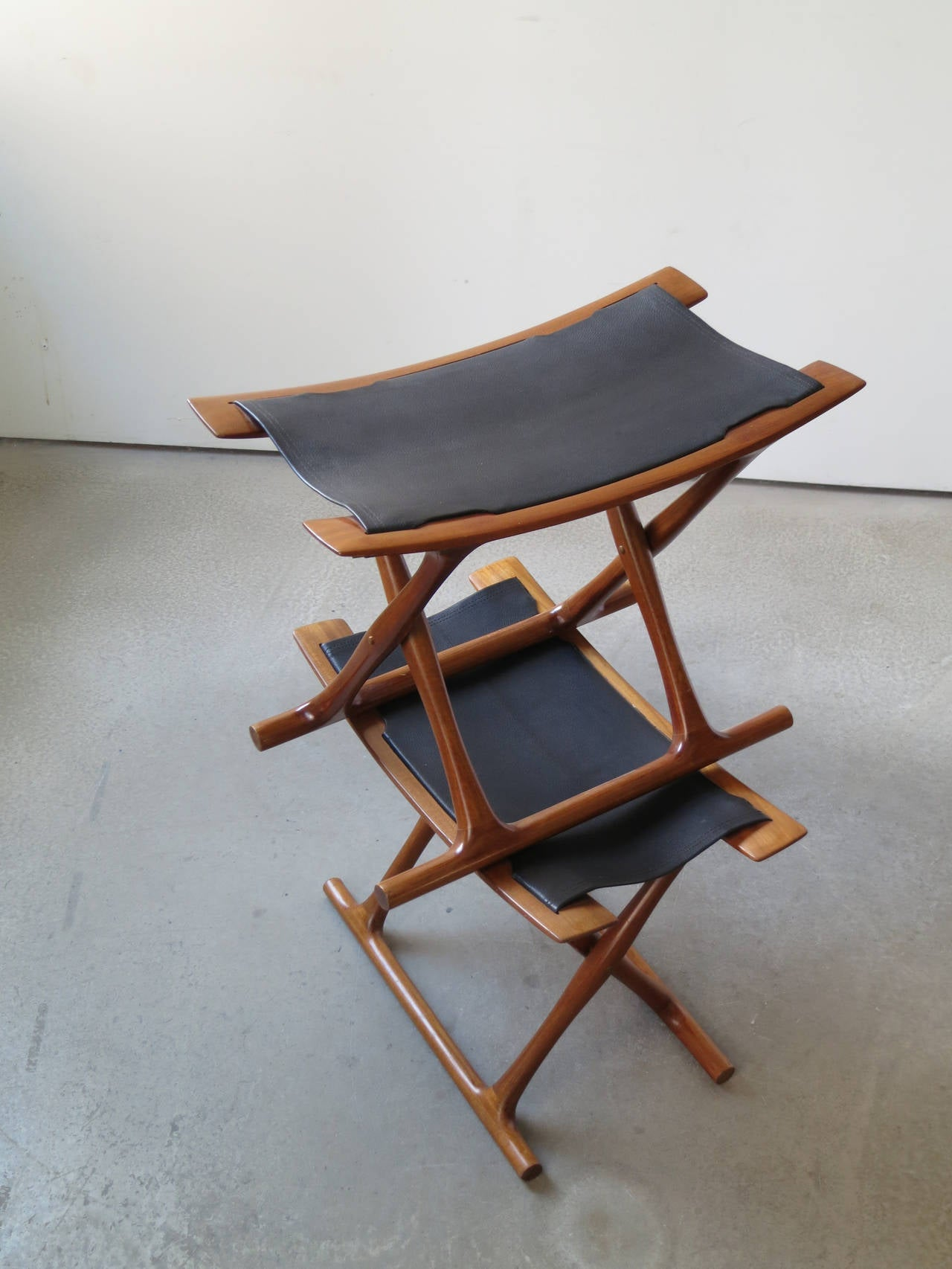Pair Of Egyptian Folding Stools By Ole Wanscher For Sale