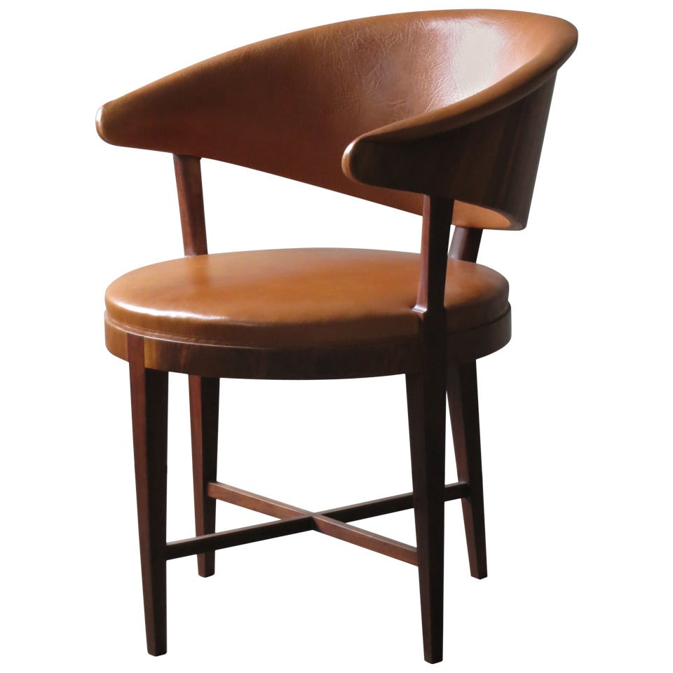 A Rare Elegant Round Back Chair By Frits Henningsen 1