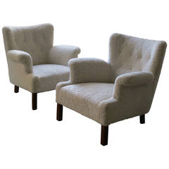 Pair of Elegant and Refined Sheepskin Lounge Chairs by Orla Mølgaard-Nielsen