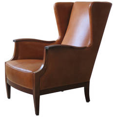 1930s Wingback Chair in Nigerian Leather and Cuban Mahogany by Frits Henningsen