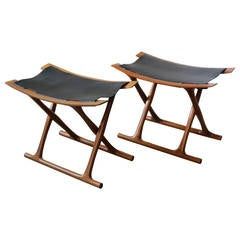 Pair of Egyptian Folding Stools by Ole Wanscher