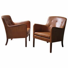 Pair of 1940s Lounge Chairs in Nigerian Leather by Ole Wanscher
