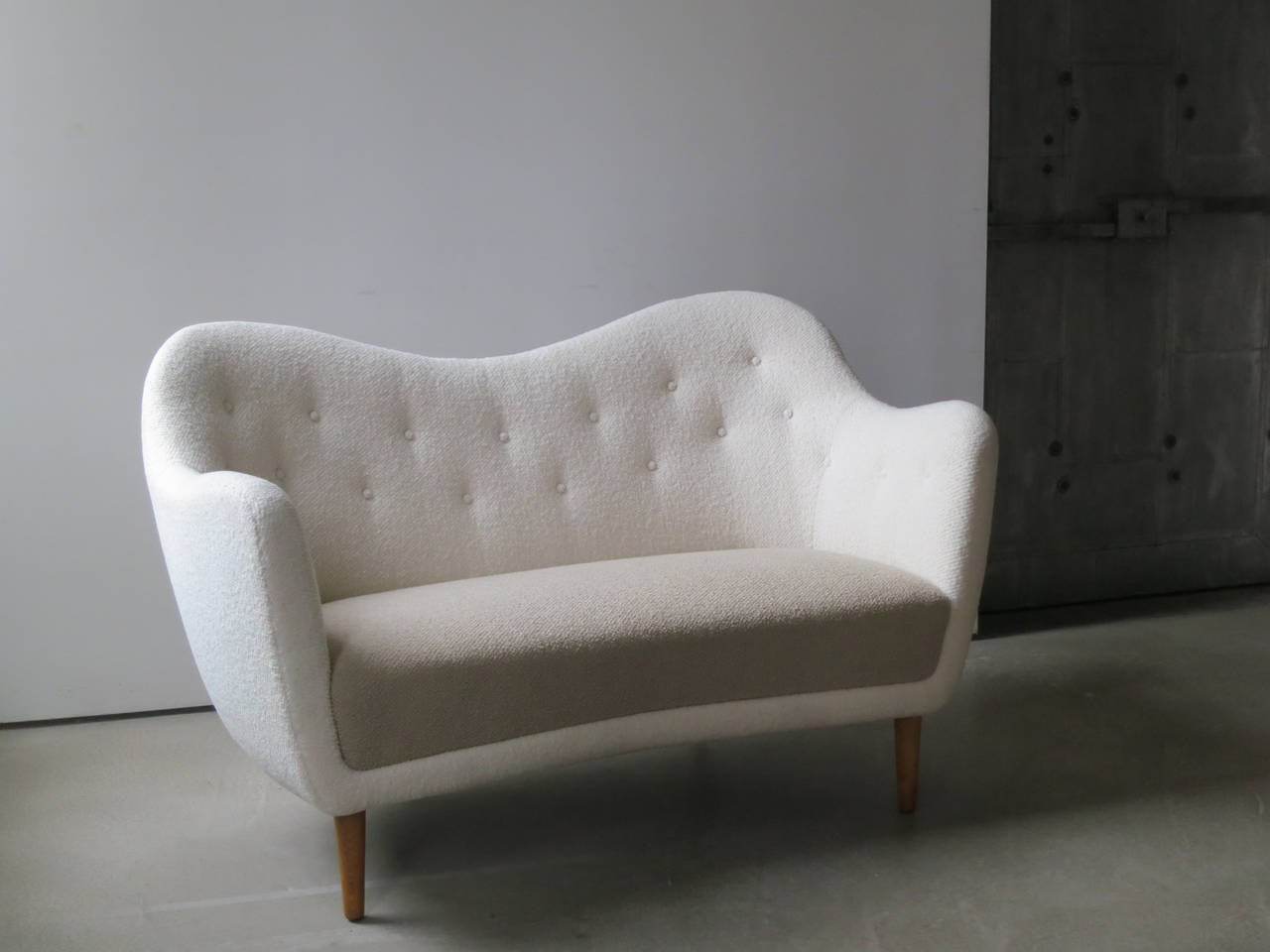 Danish Elegant Curved Sofa with Teak Legs by Finn Juhl Designed in 1948 For Sale