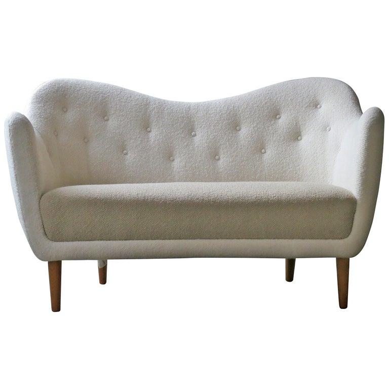 Elegant Curved Sofa with Teak Legs by Finn Juhl Designed in 1948 For Sale