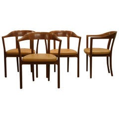 Ole Wanscher, Set of Four 1958 Armchairs in Mahogany and Original Leather Seats