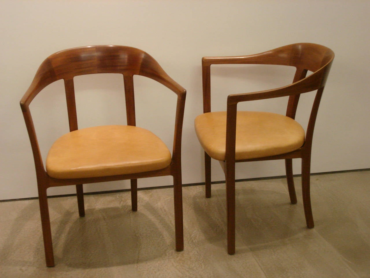 Danish Ole Wanscher, Set of Four 1958 Armchairs in Mahogany and Original Leather Seats For Sale