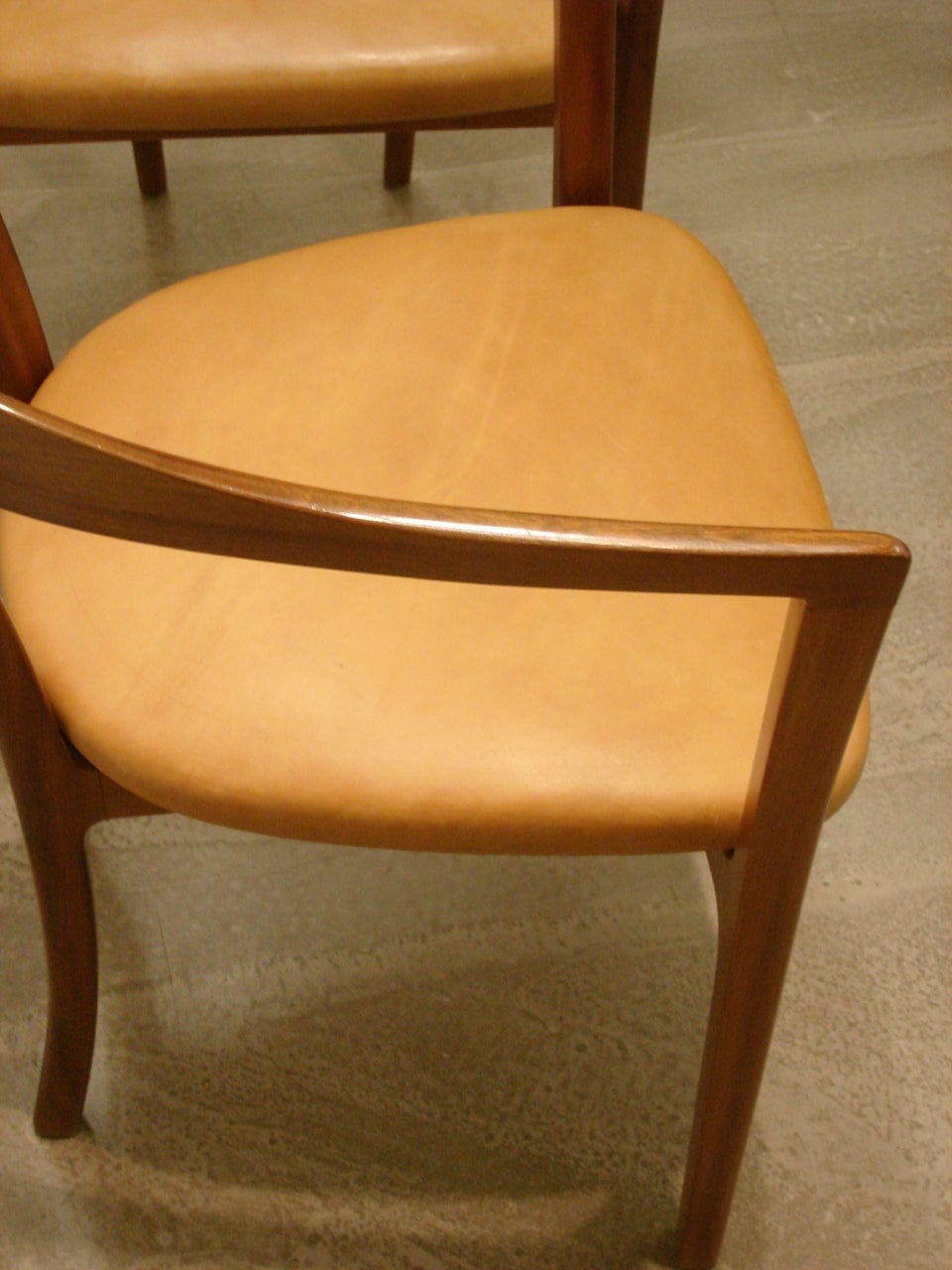 Mid-20th Century Ole Wanscher, Set of Four 1958 Armchairs in Mahogany and Original Leather Seats For Sale