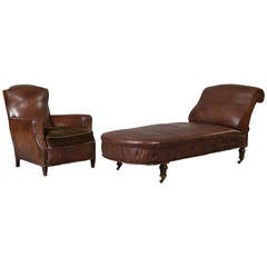 Leather Armchair and Sofa Set from 1930s Psychoanalyst