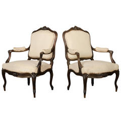 Pair of Louis XV Style Walnut Cabriolet Armchairs