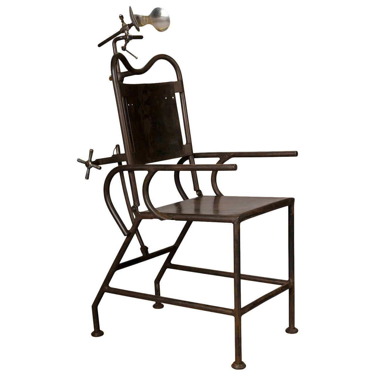 Captivating Medical Armchair In Sheet Metal And Nickel Parts, Circa 1930 For Sale