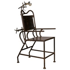 Medical Armchair in Sheet Metal and Nickel Parts, circa 1930