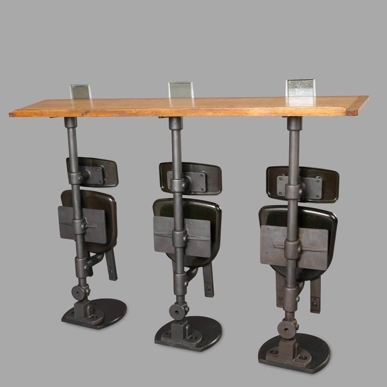 Three Amphitheater Folding Seats With Oak Writing Desks