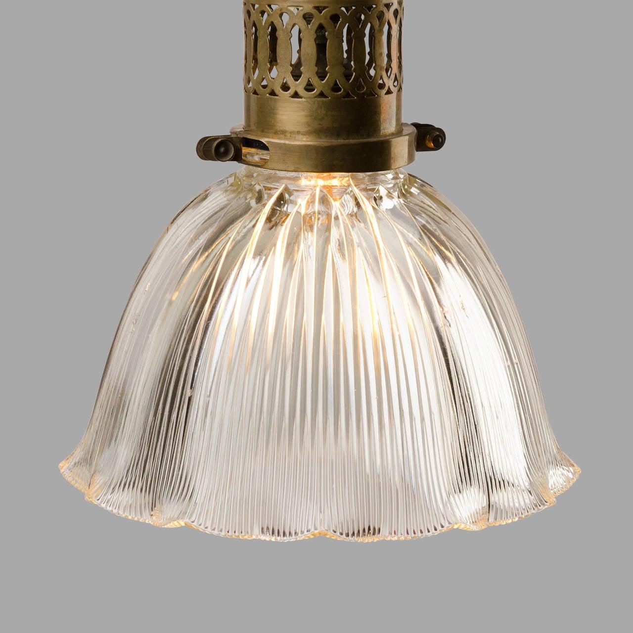 Holophane Brass Pendant Light circa 1920 at 1stdibs