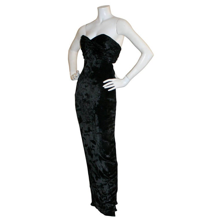Sexy Vicky Tiel Vintage Gown Black Crushed Sparkle Velvet w/ Open Back 2