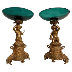 Pair of 19th Century French Ormolu and Glass Tazzas