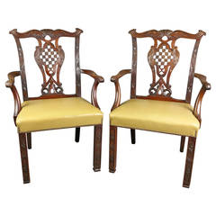 Pair of Late 19th Century Walnut Chippendale Style Armchairs