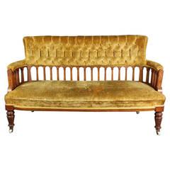 Victorian Inlaid Walnut Sofa with Burr Walnut Panels