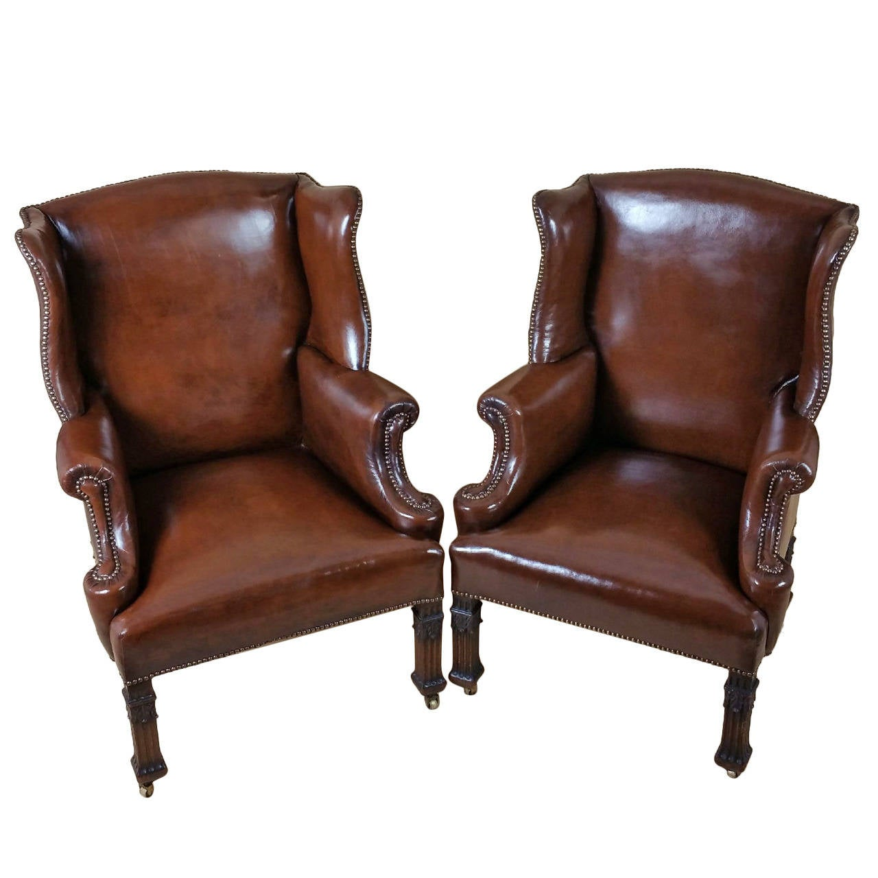 Pair Of Leather Wing Armchairs At 1stdibs