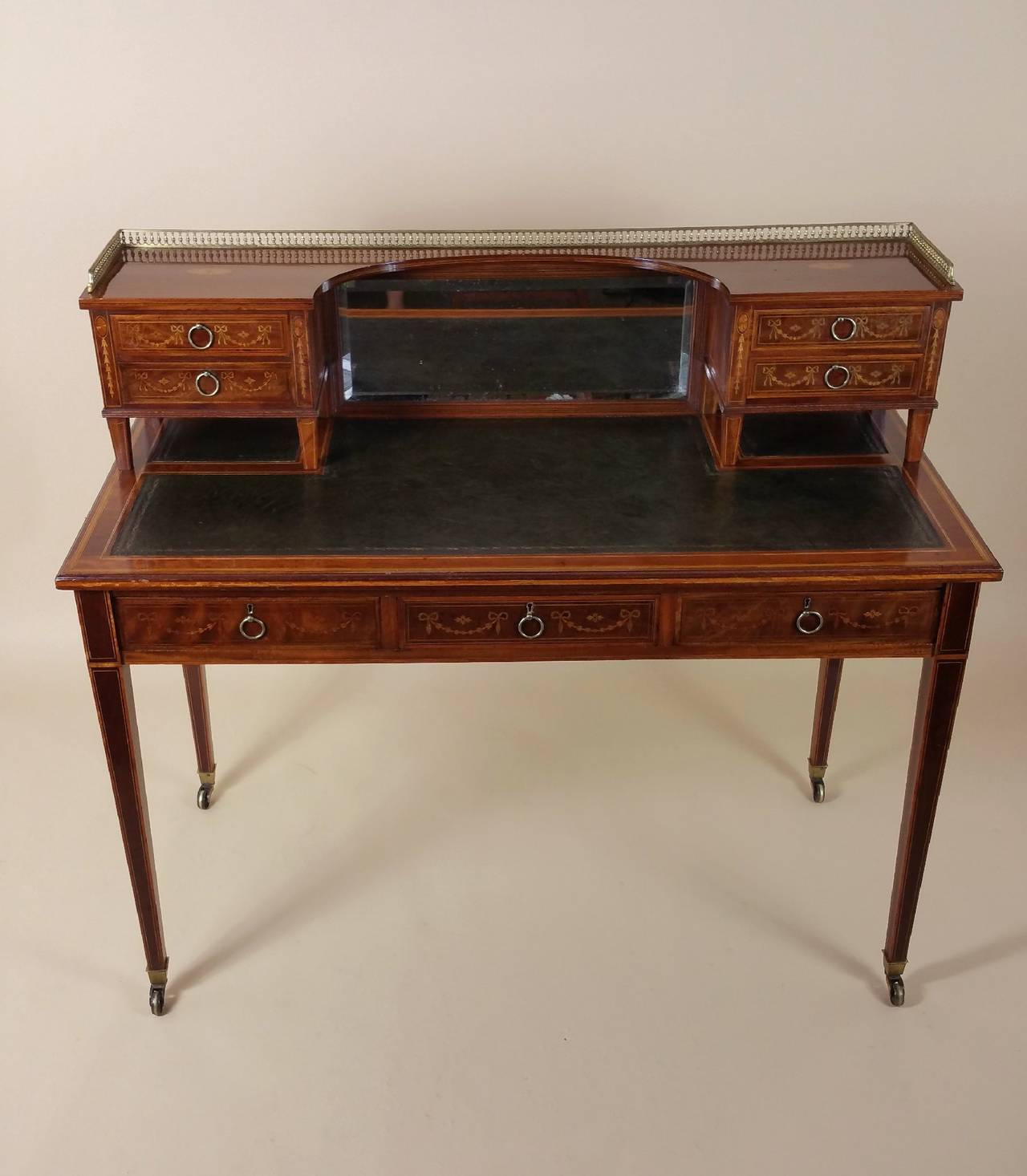 This Gorgeous Victorian Gany Writing Table Features Satinwood Inlaid Marquetry And Stringing Detail A