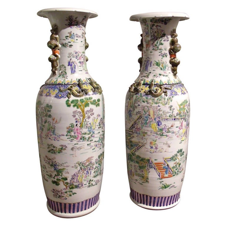 Mid 20th Century Pair Of Chinese Large Floor Vases At 1stdibs