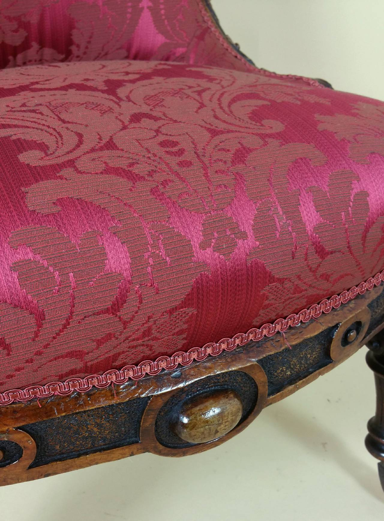 Great Britain (UK) Victorian Carved Walnut Ladies Upholstered Chair  For Sale