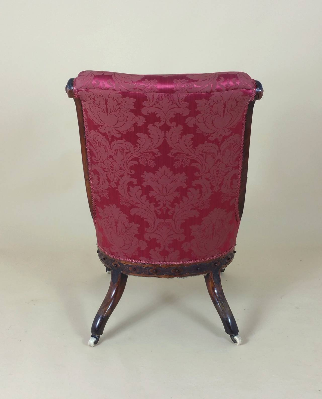 Victorian Carved Walnut Ladies Upholstered Chair  For Sale 4