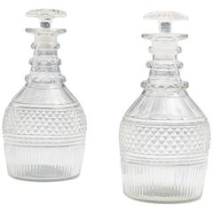 Pair of Diamond and Flute Cut Regency Decanters