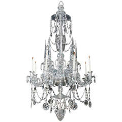 Highly Important Continental Cut-Glass Chandelier of Finest Quality