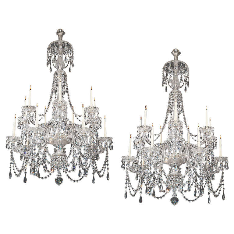 Fine Pair of Fourteen-Light, Cut-Glass Chandeliers by Perry & Co.